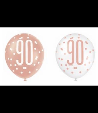 90 jaar ballonnen rose goud - wit