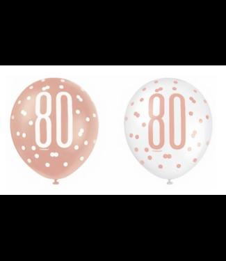 80 jaar ballonnen rose goud - wit