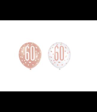 60 jaar ballonnen rose goud - wit
