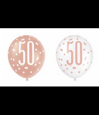 50 jaar ballonnen rose goud - wit