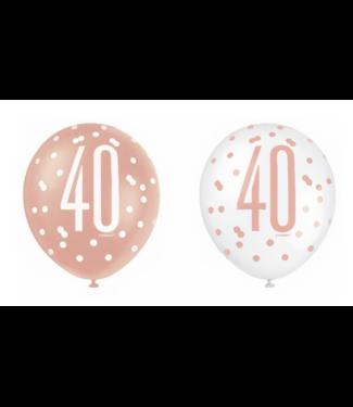 40 jaar ballonnen rose goud - wit