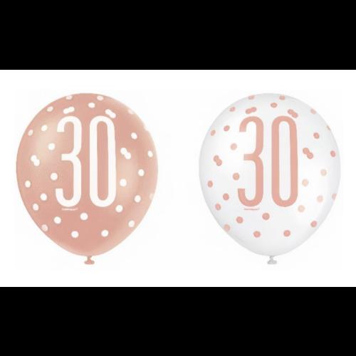 30 jaar ballonnen rose goud - wit