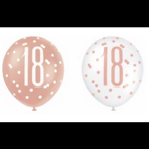 18 jaar ballonnen rose goud - wit