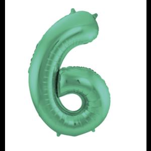 Cijfer ballon groen mat nummer 6