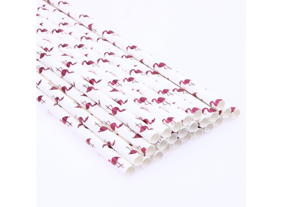 Flamingo rietjes roze - wit