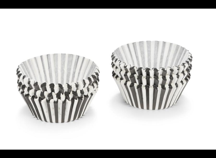 Cupcake vormen zwart - wit streep
