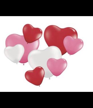 Folat  Hartjes ballonnen set rood - roze - wit