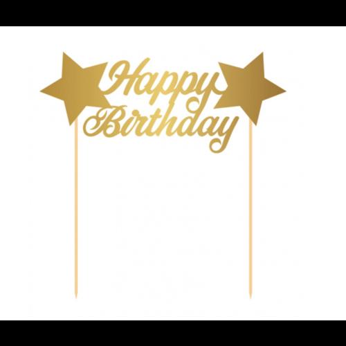 Taart topper happy birthday metallic