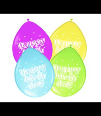 Folat  Happy birthday ballonnen neon