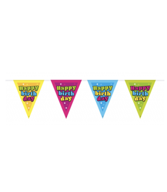 Happy birthday vlaggenlijn neon