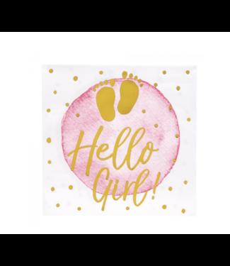 Hello girl servetten metallic roze