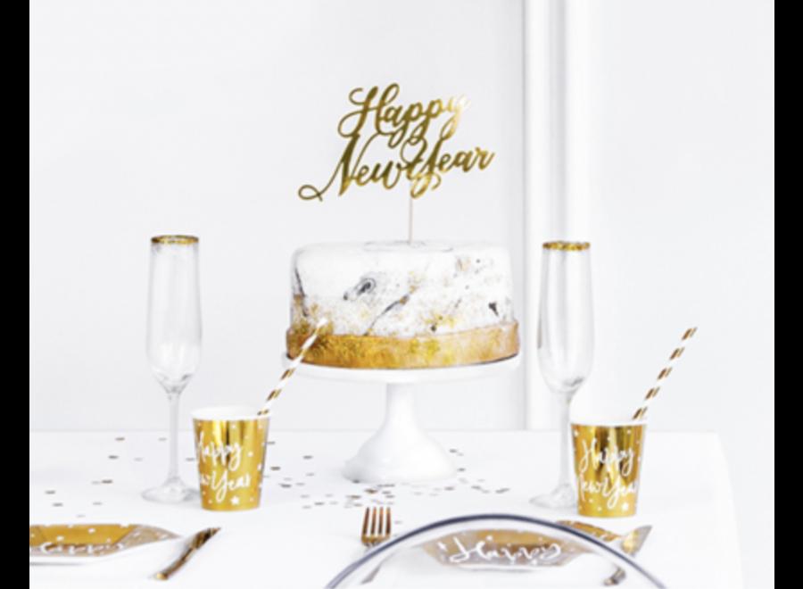 Happy new year taart topper goud