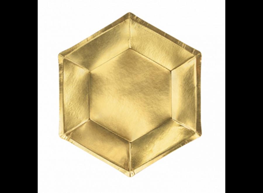 Gebaksborden metallic goud 6 hoek