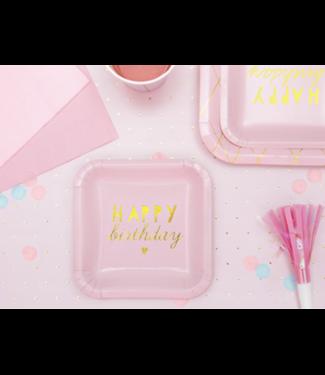 Partydeco Shiny birthday roze borden