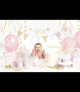 Partydeco 1 jaar versiering set roze