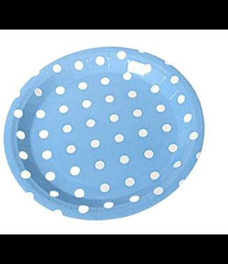 Gebaksborden licht blauw dots