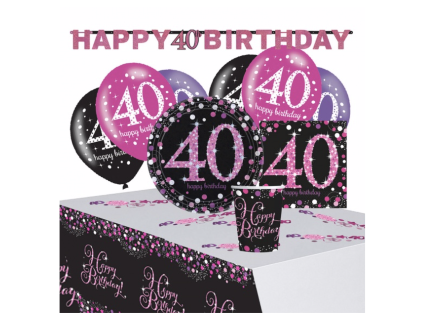 40 jaar feest pakket roze - zwart