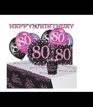 Amscan  80 jaar feest pakket roze - zwart