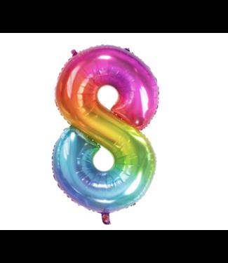 Folat  Cijfer ballon 8 regenboog