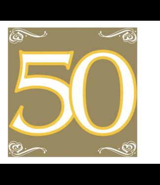 Folat  50 jaar servetten goud