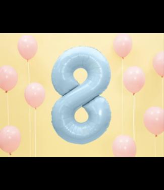 Partydeco Cijfer ballon pastel blauw