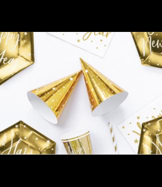 Partydeco Feesthoedjes metallic goud ster