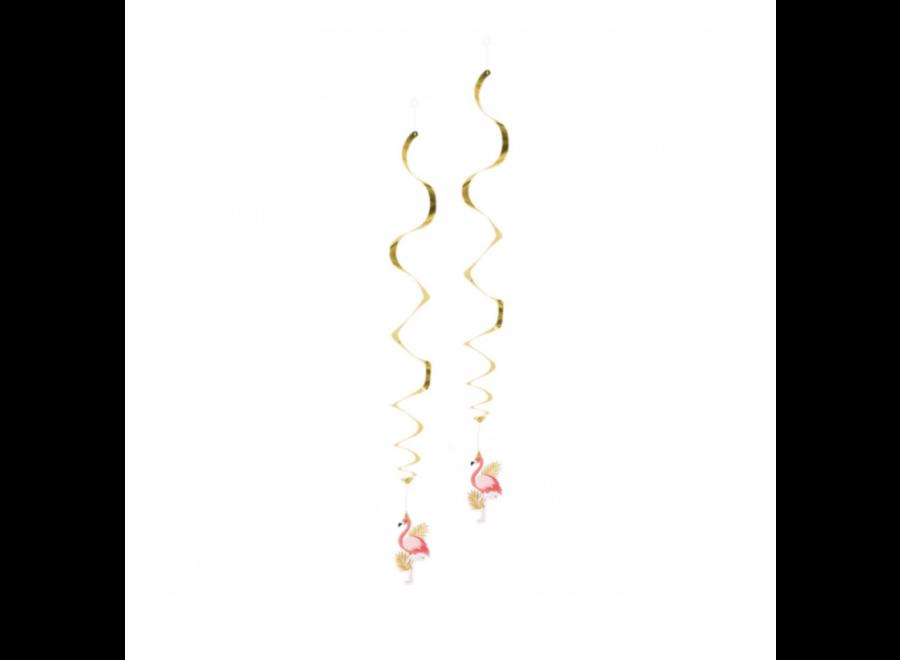 Flamingo decoratie swirls