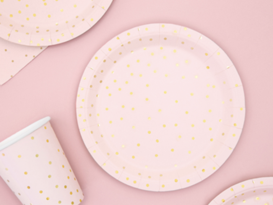 pastel roze borden