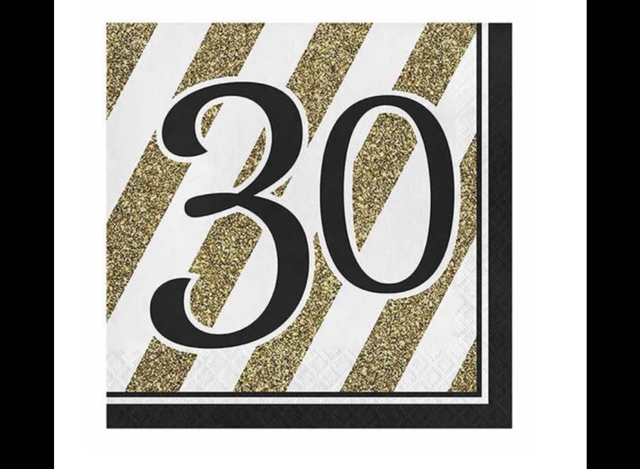 30 jaar servetten goud - wit