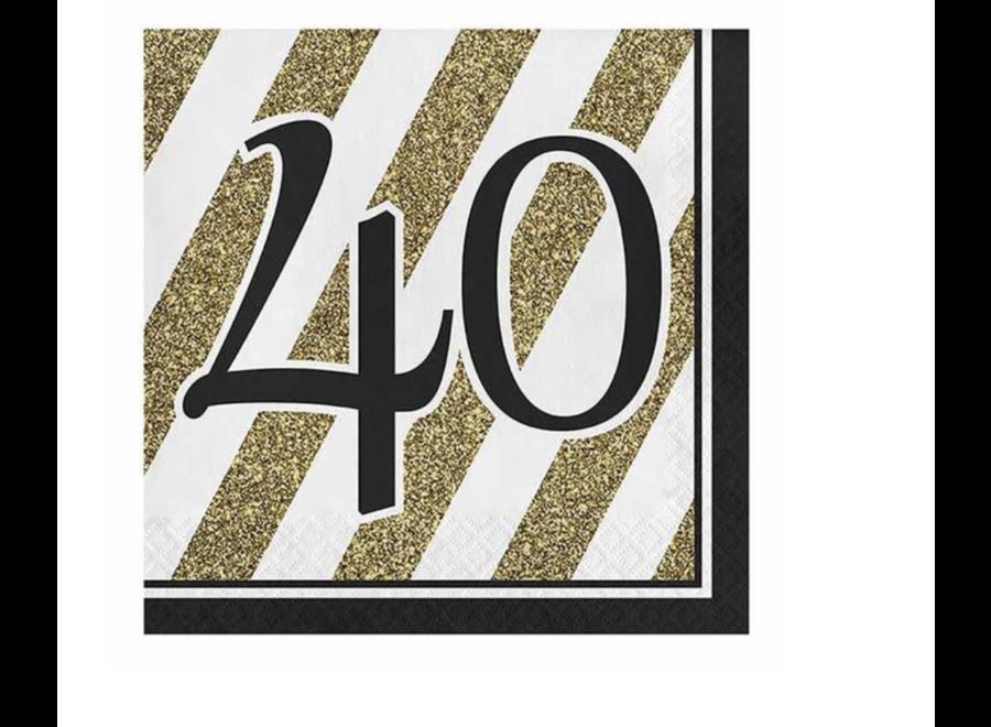 40 jaar servetten goud - wit