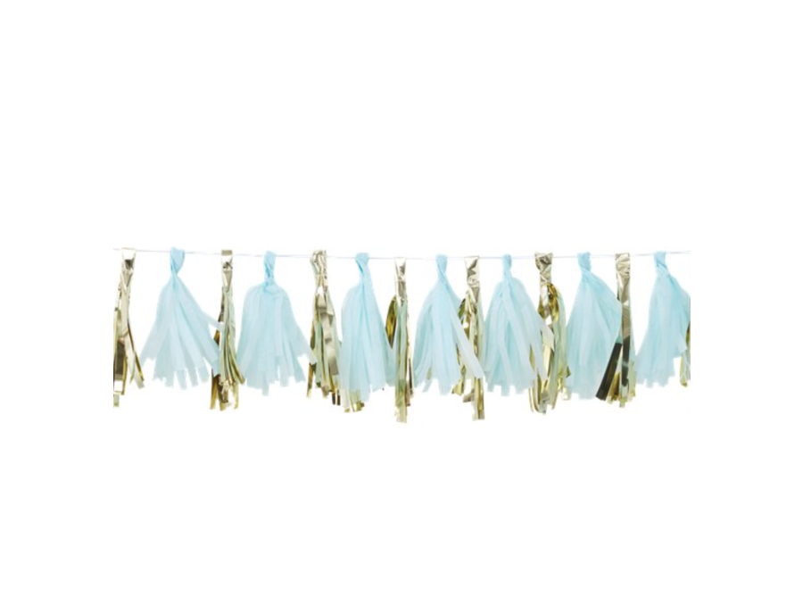 Tassel garland blauw metallic goud