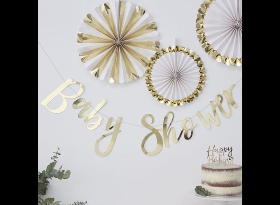 Babyshower slinger metallic goud