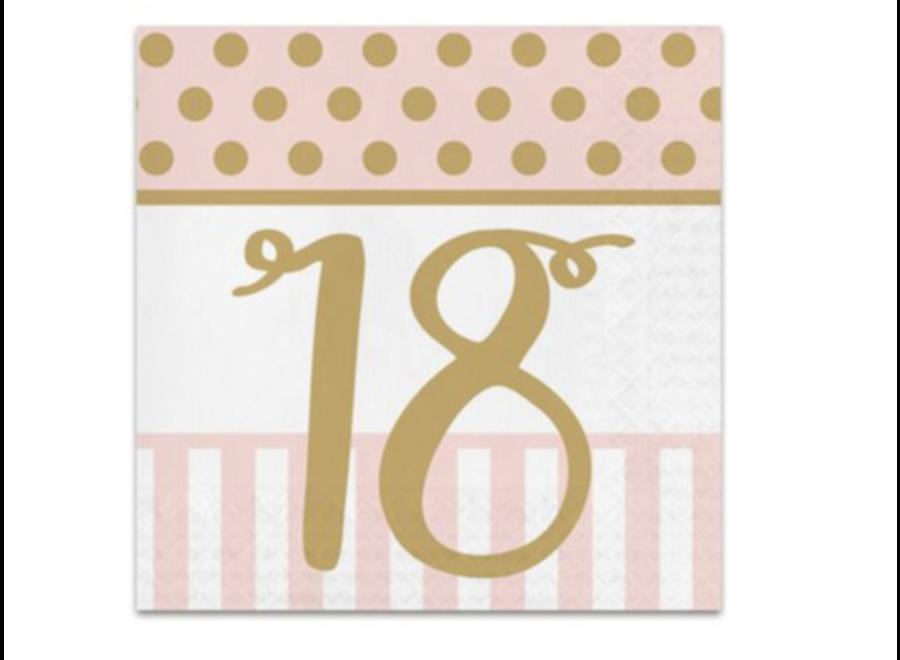 18 jaar servetten roze - goud