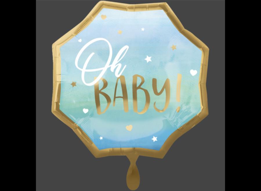Oh baby ballon blauw - goud