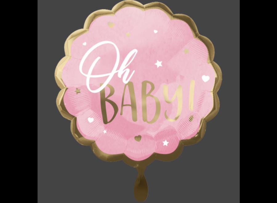 Oh baby ballon roze - goud