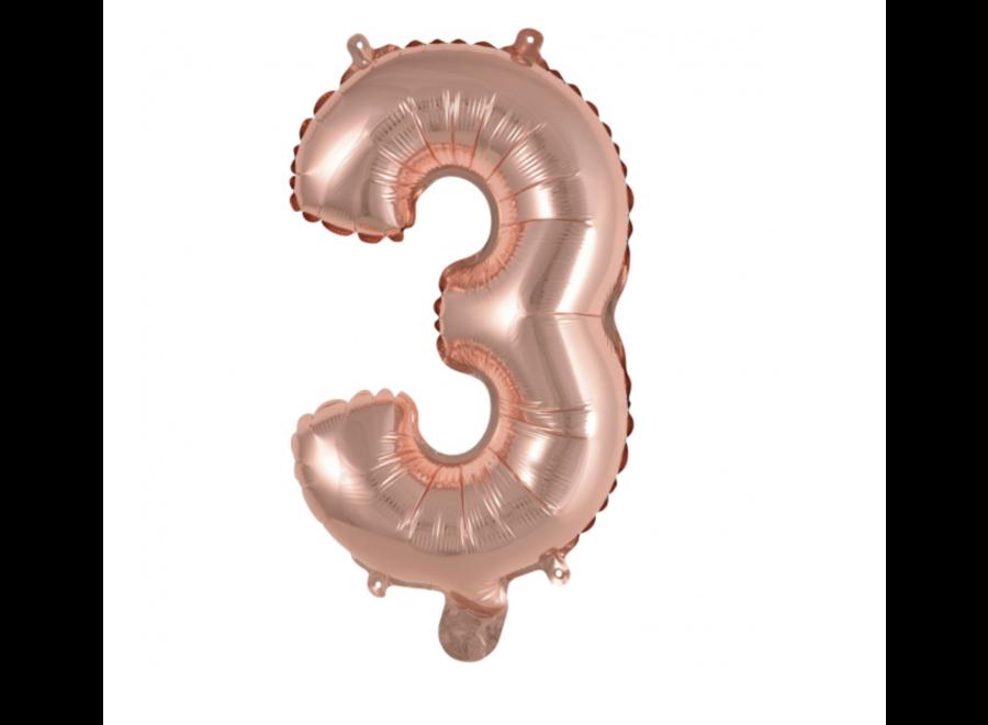Rosé goud cijfer ballon S