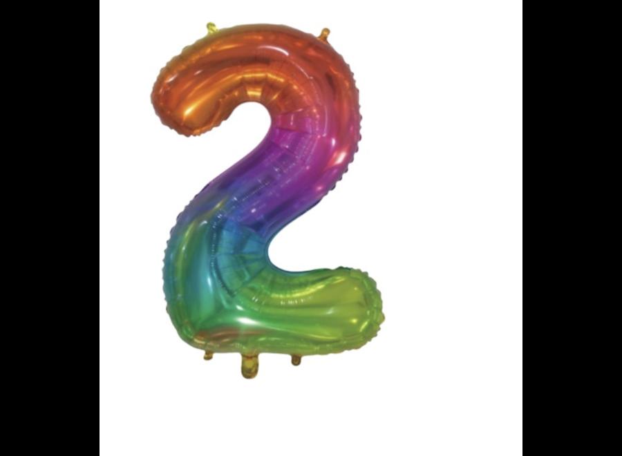 Tropical regenboog cijfer ballon