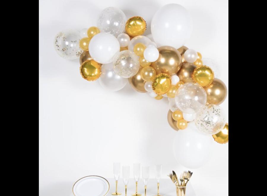 Ballonnen boog goud - wit - chrome