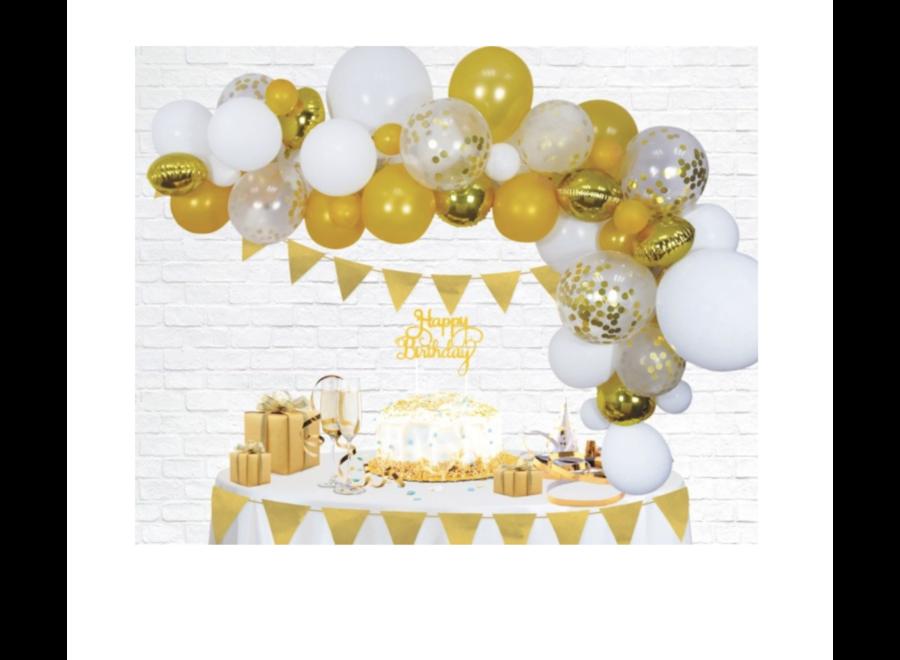 Ballonnen boog goud - wit
