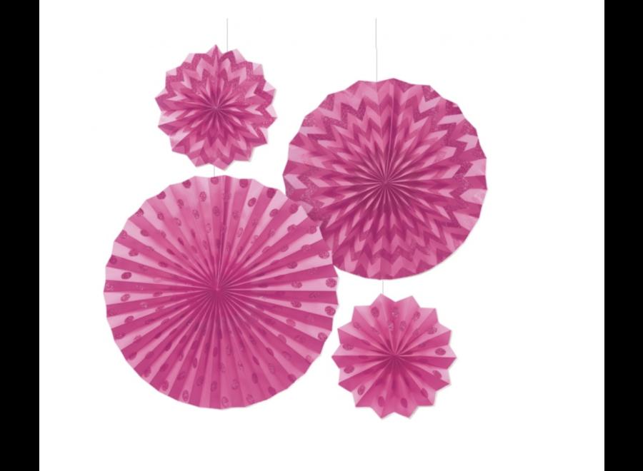 Roze feest waaiers