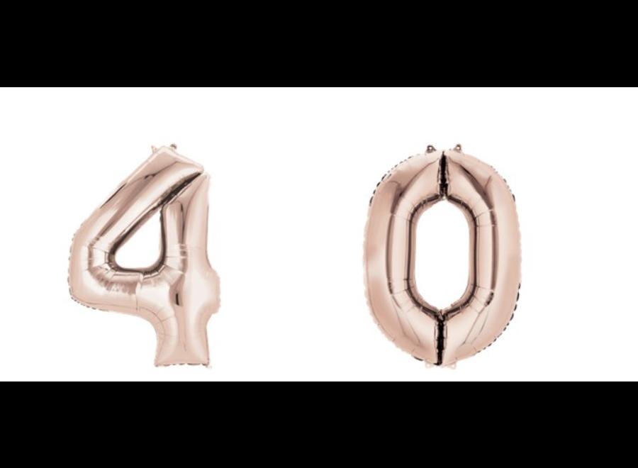 40 Jaar cijfer ballonnen rosé goud