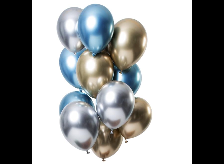 Ballonnen mirror goud - blauw - zilver