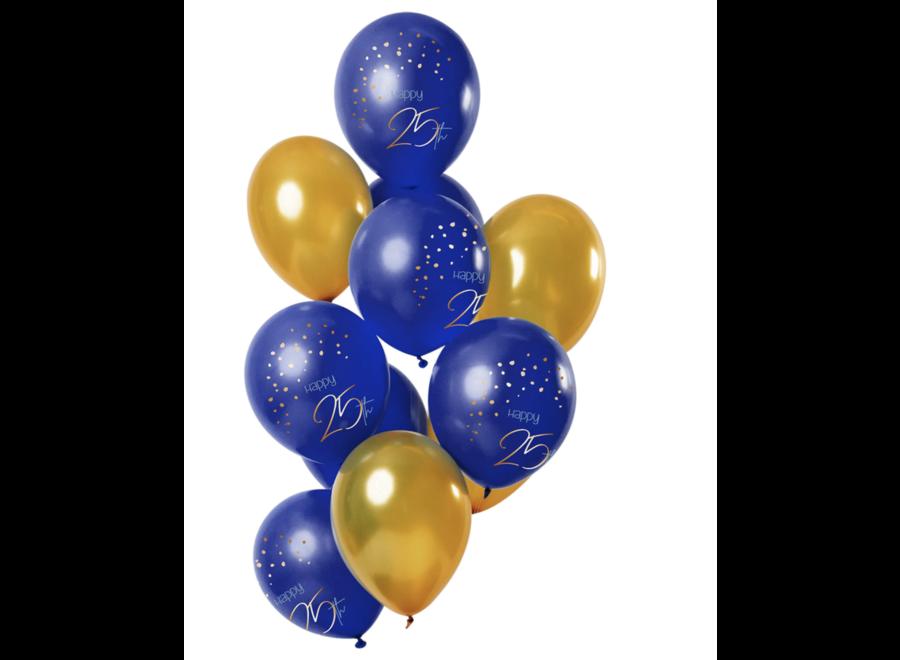 25 jaar ballonnen goud - blauw