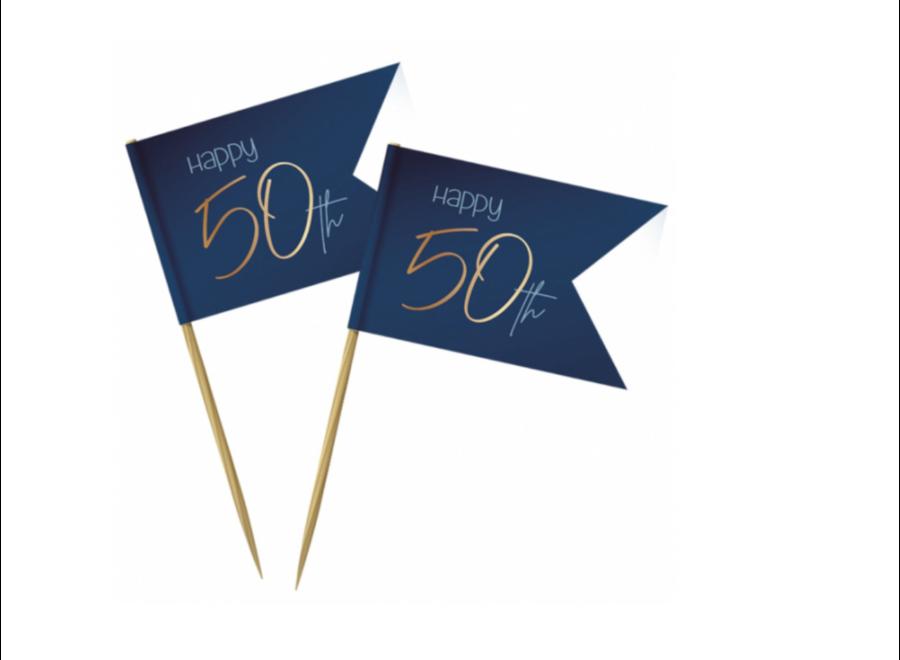 50 jaar cocktail prikkers blauw
