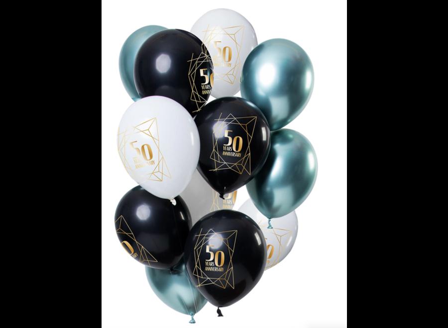 50 jaar ballonnen zwart - wit - goud