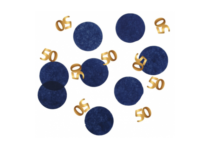 50 jaar confetti blauw - goud