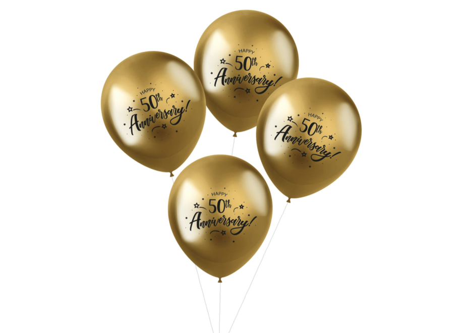 50 jaar getrouwd ballonnen goud chroom