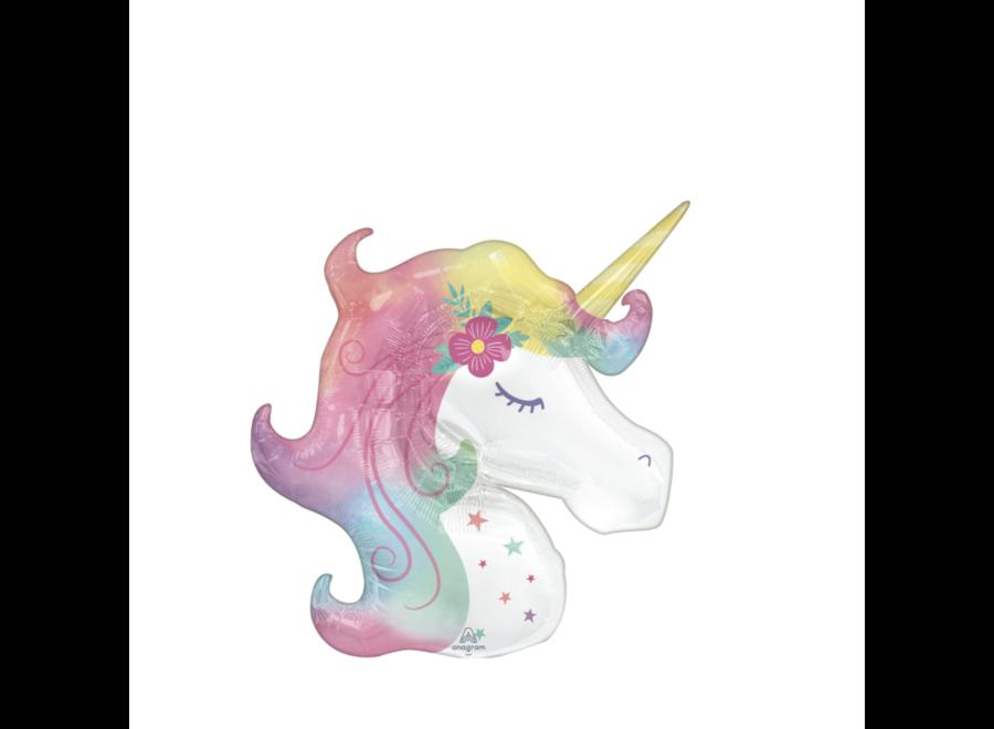 Unicorn hoofd ballon pastel