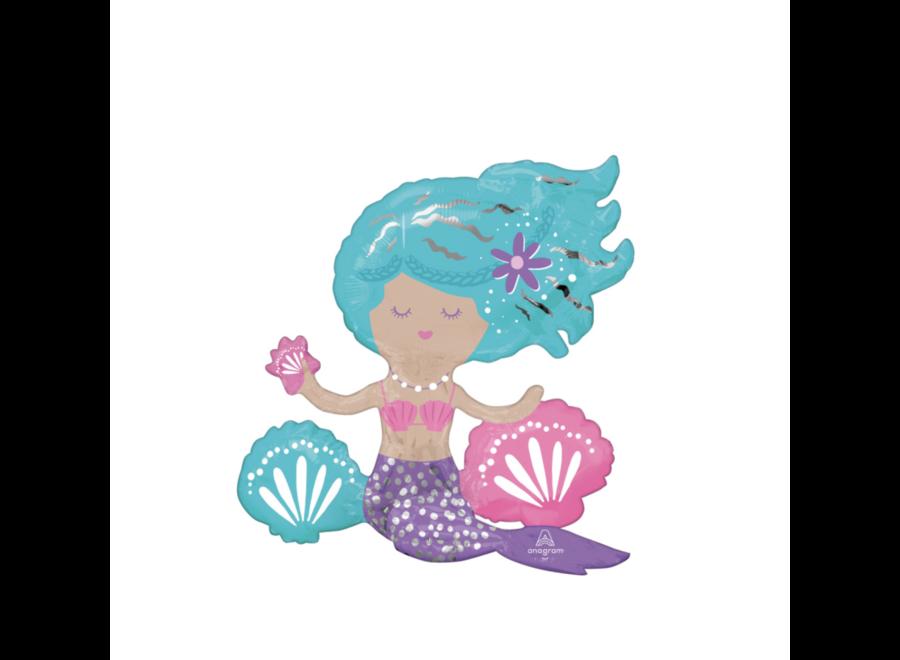 Mermaid shimmering folie ballon