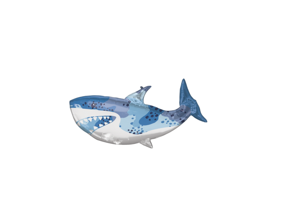 Haai folie ballon blauw - wit